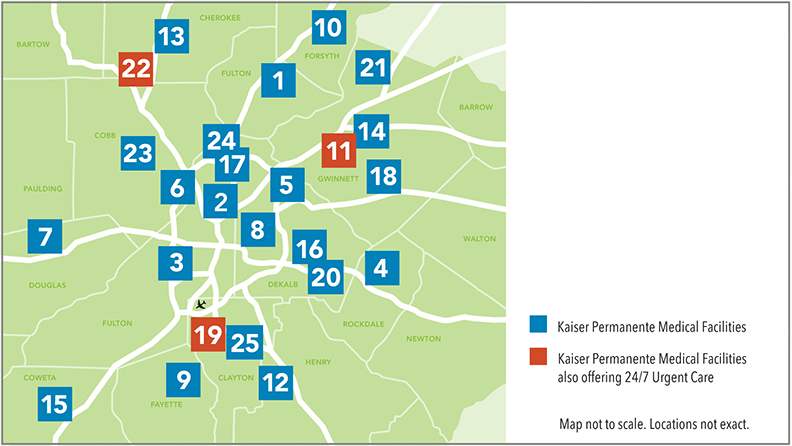 Map of Atlanta and surrounding counties, showing 25 Kaiser Permanente Medical Facilities spread throughout the area, 3 of which also offer 24 / 7 Urgent Care.